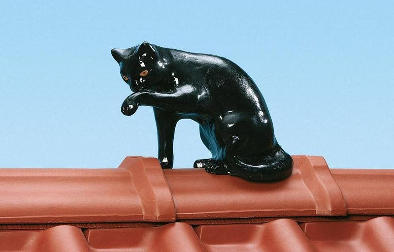 Dachschmuck aus Ton: Katze
