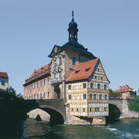 Opal Standard auf altem Rathaus in Bamberg